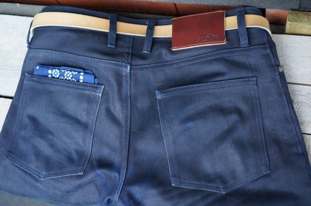 Shadow Selvedge Raw Denim back pockets