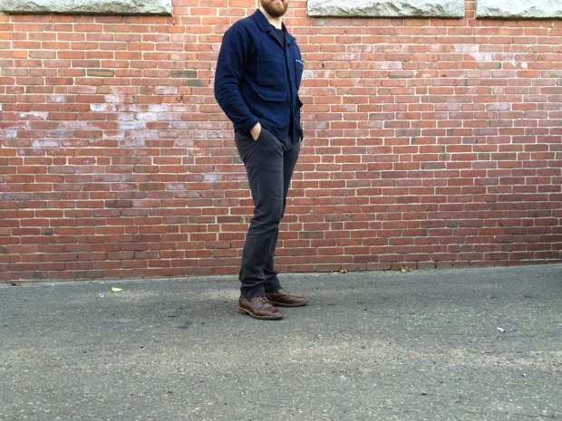 Apolis Chore Coat, Outlier Tee and 60/30 Chinos, Hollows Leather Belt, Viberg Boots